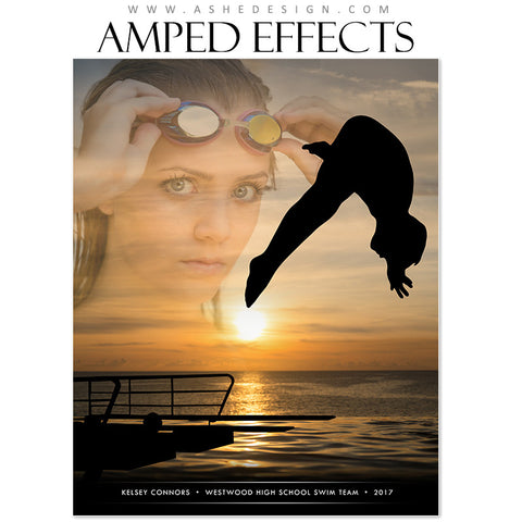 Ashe Design 16x20 Amped Effects - Silhouette Sports Swimming