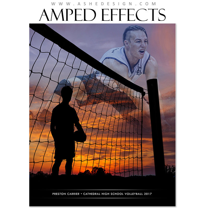 Ashe Design 16x20 Amped Effects - Silhouette Sports Volleyball