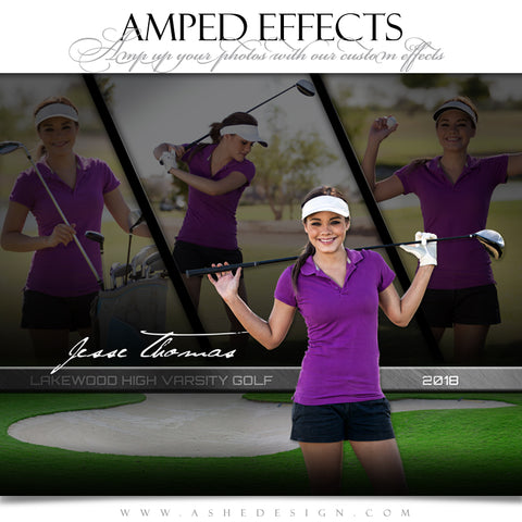 Ashe Design 16x20 Amped Effects - Faded Triptych - Golf