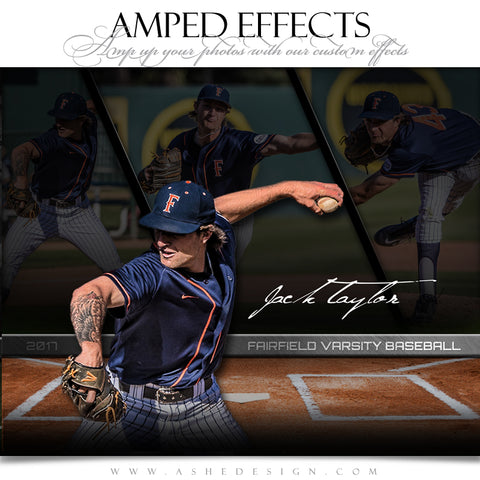 Ashe Design 16x20 Amped Effects Sports Poster - Faded Triptych - Baseball
