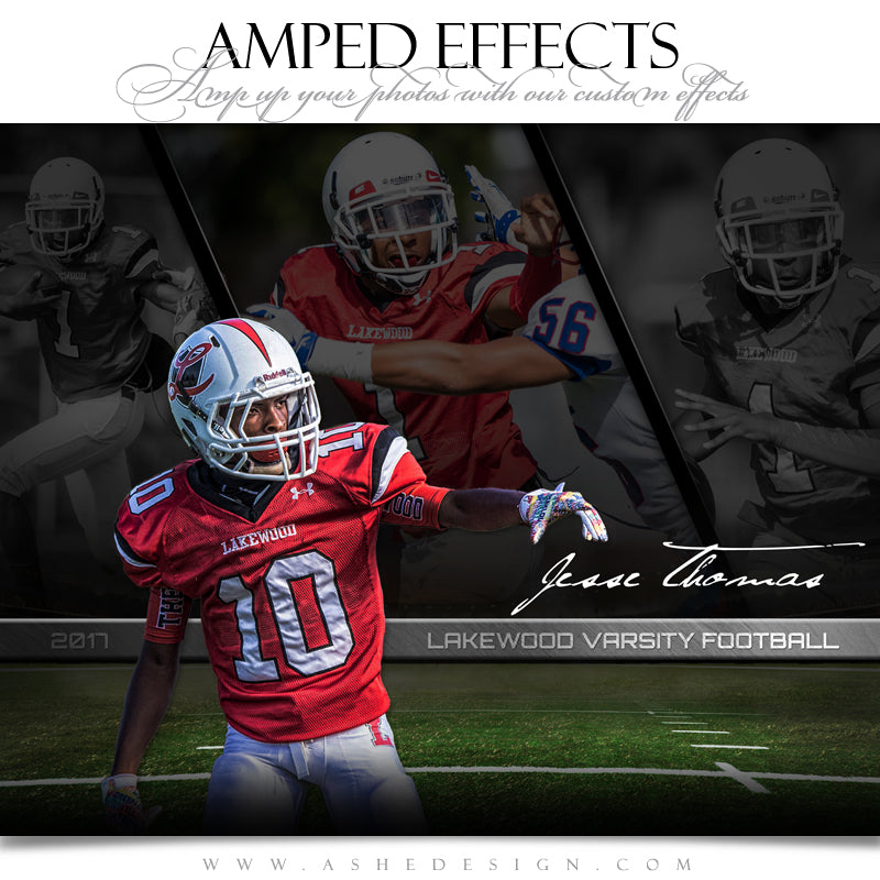 Ashe Design 16x20 Amped Effects Sports Poster - Faded Triptych - Football