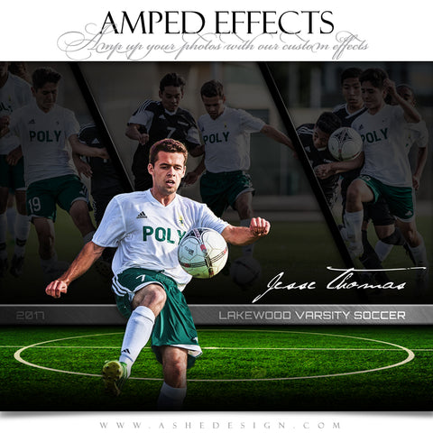 Ashe Design 16x20 Amped Effects Sports Poster - Faded Triptych - Soccer