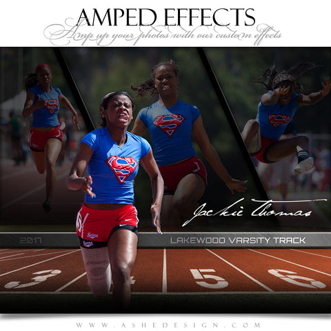Ashe Design 16x20 Amped Effects Sports Poster - Faded Triptych - Track