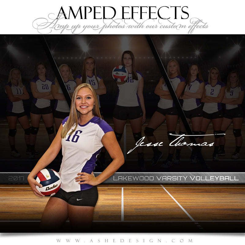 Ashe Design 16x20 Amped Effects Sports Poster - Faded Triptych - Volleyball