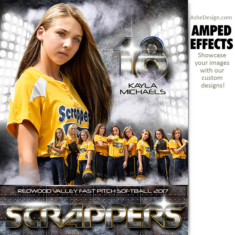 Ashe Design 16x20 Amped Effects Sports Photography Photoshop Templates Individual Poster