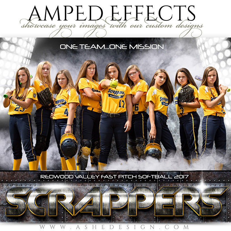 Ashe Design 16x20 Amped Effects Sports Photography Photoshop Templates Team Poster