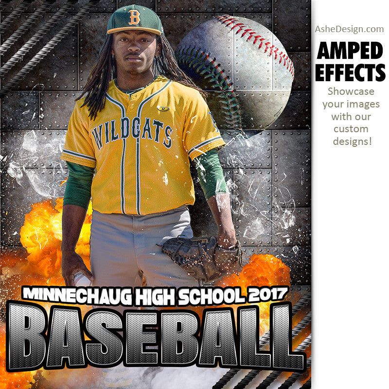 Ashe Design 16x20 Amped Effects Sports Photography Photoshop Templates Molten Baseball