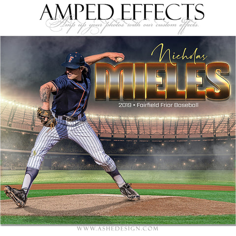 Ashe Design 16x20 Amped Effects Sports Poster - Pitcher's Mound