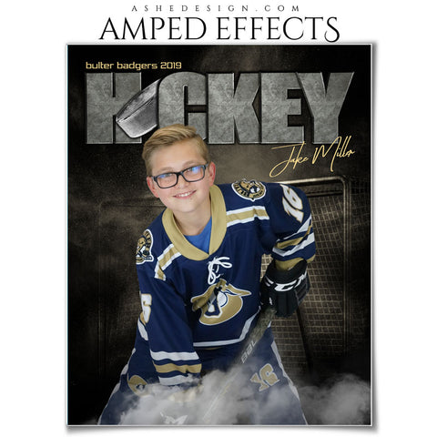 Ashe Design 16x20 Amped Effects - Rocked Ice Hockey