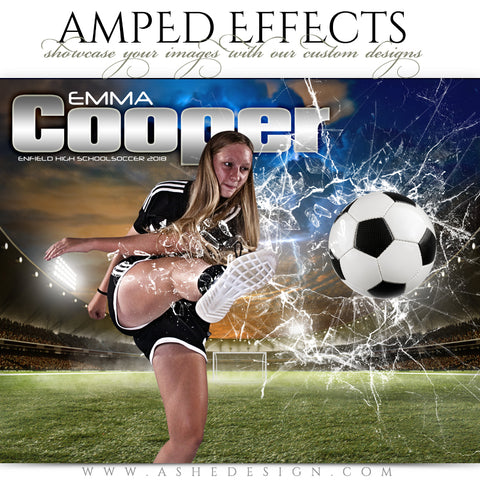 Ashe Design 16x20 Amped Effects Poster - Smashing Through - Soccer
