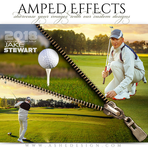 Ashe Design 16x20 Amped Effects Sports Poster - Zipped - Golf