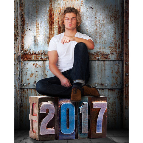 Digital Props - 16x20 Backdrops - Corrugated Metal - 2017 Senior