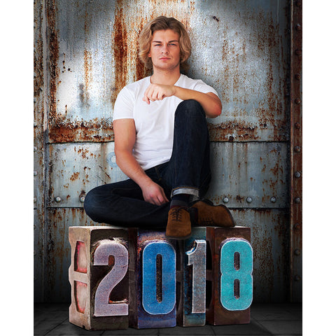 Digital Props - 16x20 Backdrops - Corrugated Metal - 2018 Senior