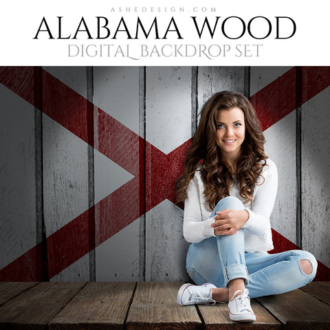 Digital Props - 16x20 Backdrops - Alabama State Flags - Wood