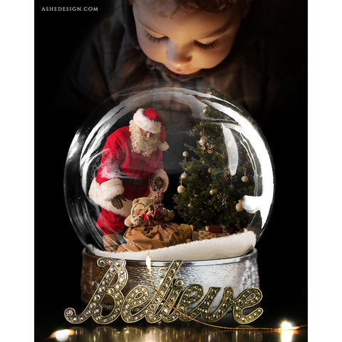 Digital Props 8x10 Backdrop Set - Believe Snow Globe