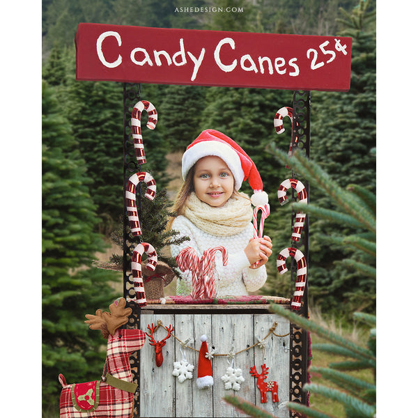 Digital Props 8x10 Backdrop Set - Candy Cane Stand