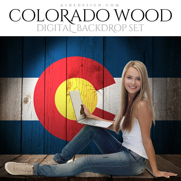Digital Props - 16x20 Backdrops - Colorado State Flags - Wood