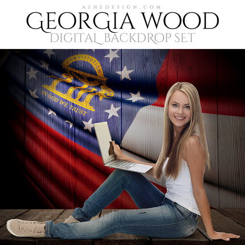 Digital Props - 16x20 Backdrops - Georgia State Flags - Wood