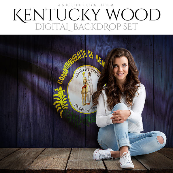 Digital Props - 16x20 Backdrops - Kentucky State Flags - Wood