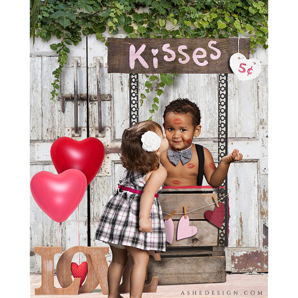 Digital Props 16x20 Backdrop Set - Candy Kisses Kissing Booth