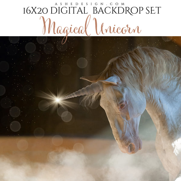 Digital Props 16x20 Backdrop Set - Magical Unicorn