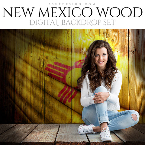Digital Props - 16x20 Backdrops - New Mexico State Flags - Wood