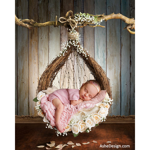 Ashe Design 16x20 Digital Backdrop Set - Newborn Hanging Nest - White Roses AFTER