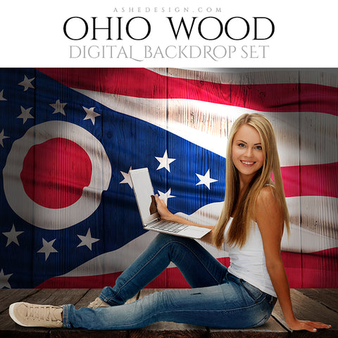 Digital Props - 16x20 Backdrops - Ohio State Flags - Wood