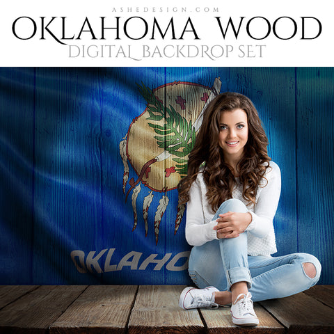 Digital Props - 16x20 Backdrops - Oklahoma State Flags - Wood