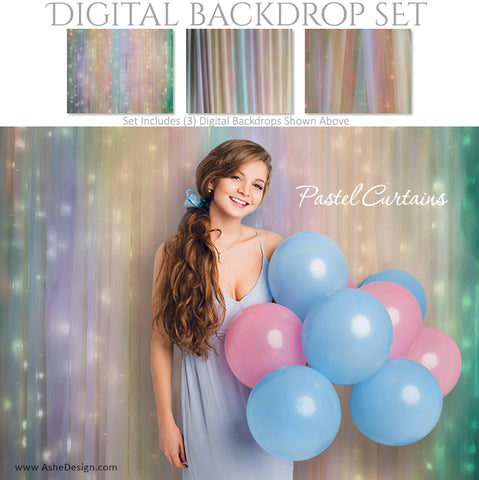 Digital Backdrop Set - Pastel Curtains