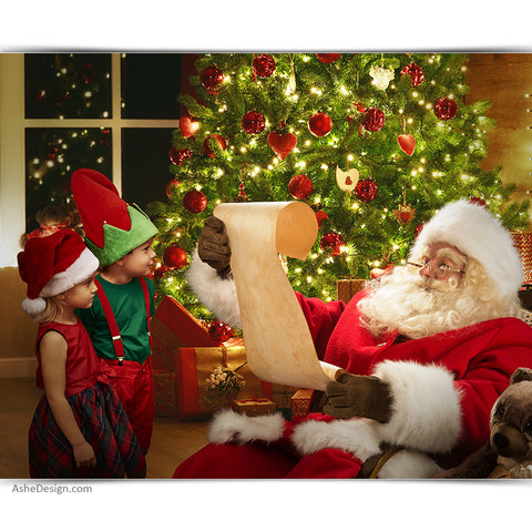 Digital Props 16x20 Backdrop Set - Santa's List
