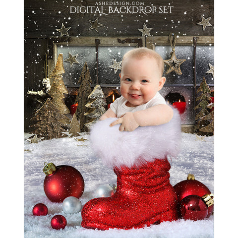 Digital Props 16x20 Backdrop Set - Santa 's Boot