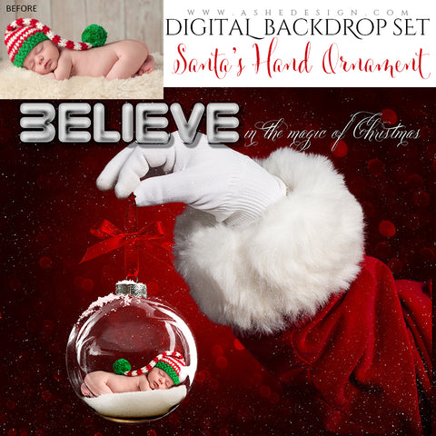 Digital Props 16x20 Backdrop Set - Santa 's Hand Ornament