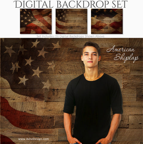 Ashe Design 16x20 Digital Backdrop Set - American Shiplap AFTER