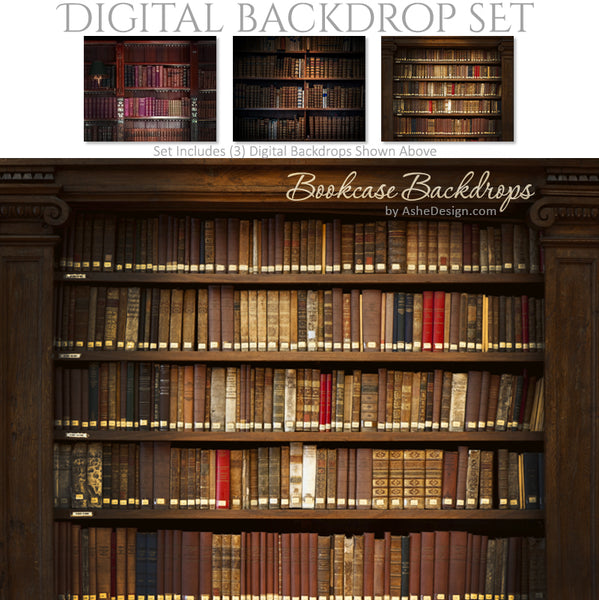 Digital Backdrop Set - Bookcase Backdrops