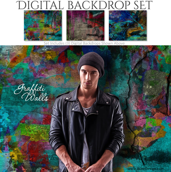 Ashe Design 16x20 Digital Backdrop Set - Graffiti Walls AFTER