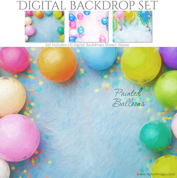 Ashe Design 16x20 Digital Backdrop Set - Painted Balloons BEFORE