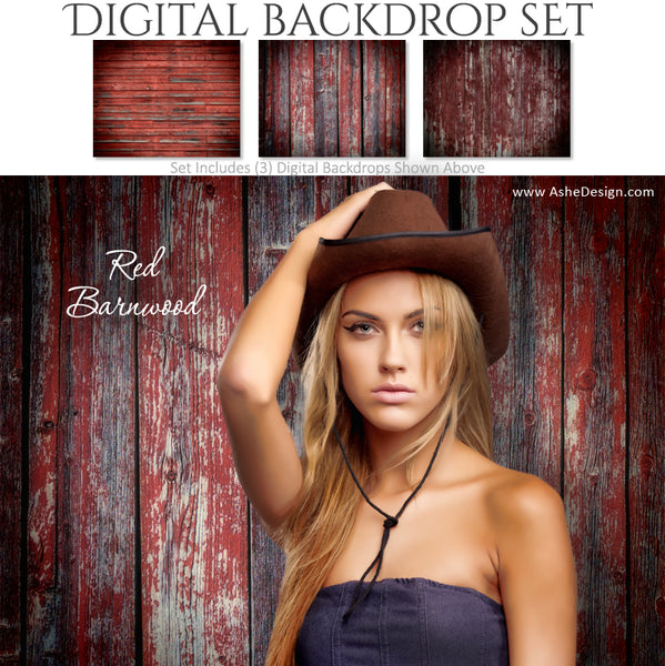 Digital Backdrop Set - Red Barnwood