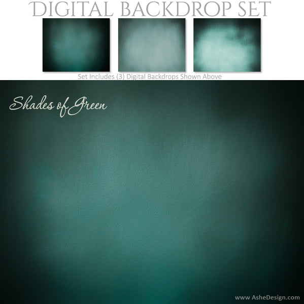 Digital Backdrop Set - Shades of Green