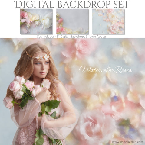 Ashe Design 16x20 Digital Backdrop Set - Watercolor Roses AFTER