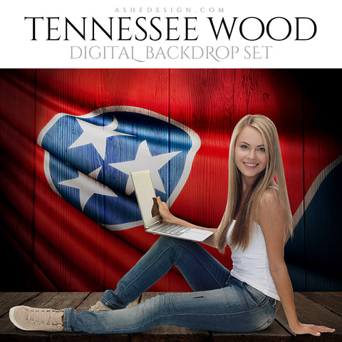 Digital Props - 16x20 Backdrops - Tennessee State Flags - Wood