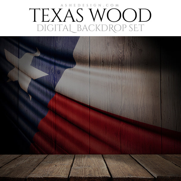 Digital Props - 16x20 Backdrops - Texas State Flags - Wood