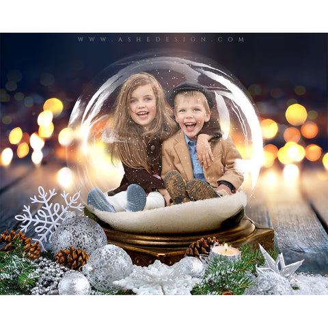 Digital Props 8x10 Backdrop Set - Twinkling Snow Globe