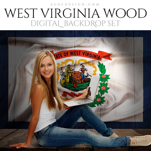 Digital Props - 16x20 Backdrops - West Virginia State Flags - Wood
