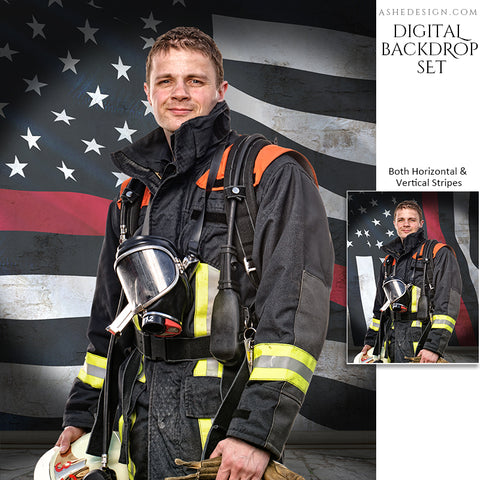 Digital Props - 16x20 Backdrops - Firefighter Flag Stone