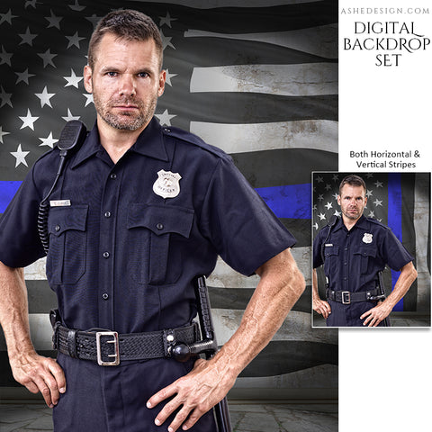 Digital Props - 16x20 Backdrops - Police Flag Stone