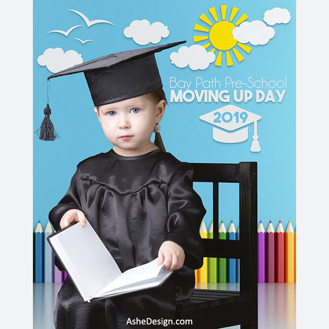 Digital Props 16x20 Backdrop Set - Pre-School Graduation