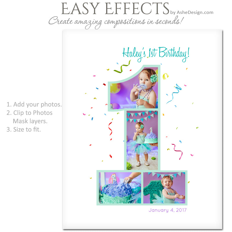 Ashe Design 16x20 Easy Effects - First Birthday
