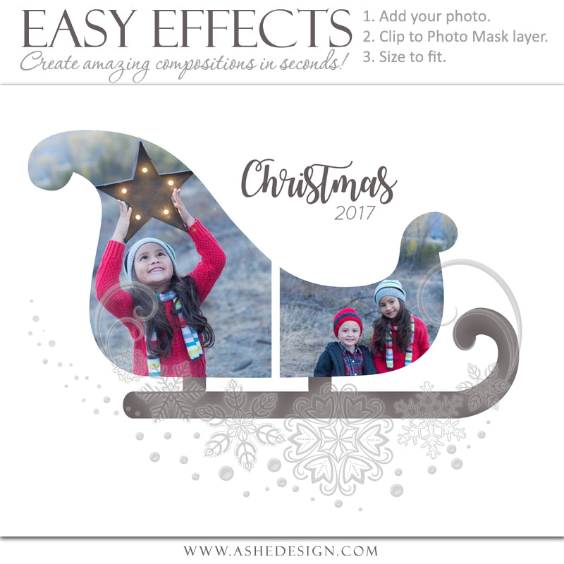 ashe design 16x20 easy effects christmas sleigh