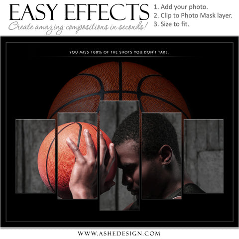 Ashe Design 16x20 Easy Effects - In The Shadows - Basketball